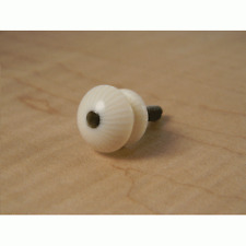 Acoustic Guitar strap button, ivoroid, black pearl dot - free postage