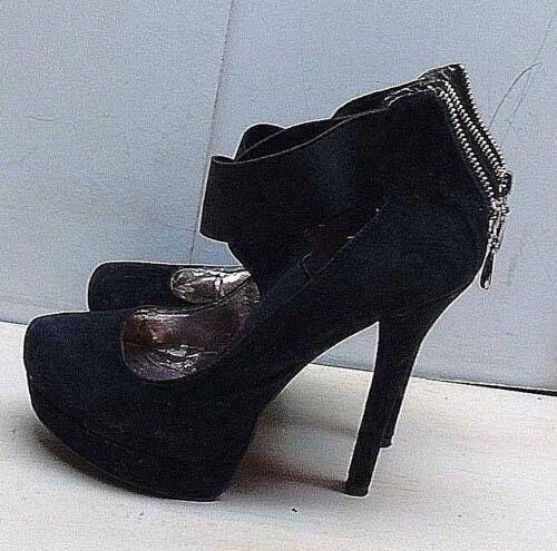 Gamuza m de las Zapatos casuales mujeres china Zip Bombas 5 6 Tacones Gladiator negras Lavandería 6qpw5xt