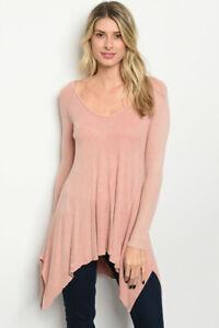 New-USA-Pink-Wash-Boho-Long-Sleeve-Shark-Bite-Hem-Western-Tunic-Sweater-M-L
