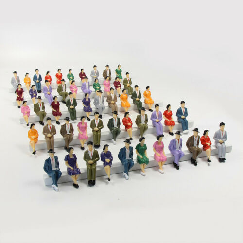 48pcs Model Trains 1:30 Painted Sitting Figures G Scale Seated People P3002