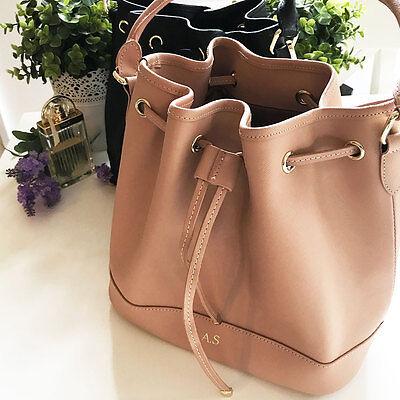 PERSONALISED MONOGRAMMED Genuine Leather Women's Bucket Bag Handbag Taupe