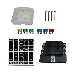 6 way rv farm construction diesel 12v blade fuse box block cover led rh ebay com Car Fuse Box Breaker Box