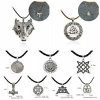 Alloy Silver Wolf Rune Amulet Pendant Norse Vikings Myth Necklace Leather Rope