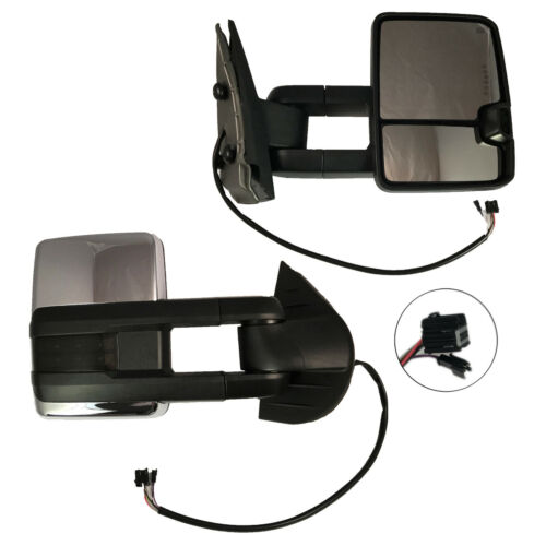 New Right Side Power Operated Heated Chrome Tow Mirror For Chevy//GMC Truck 03-06