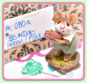 ❤️Wee Forest Folk M-080a Be Mine Valentine Sweetheart Glitter Heart Green WFF❤️