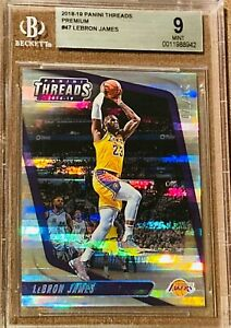 2018-19-LeBron-James-PANINI-THREADS-PREMIUM-REFRACTOR-47-SP-199-BGS-9-PSA-lakers