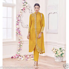 INDIAN  DESIGNER EMBROIDERED SALWAR KAMEEZ CHANDERI SILK COTTON DRESS MATERIAL