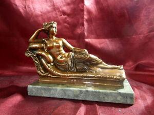 Vintage-RECLINING-VENUS-STATUETTE-Figurine-Ornament-Greece-Copper-MARBLE-BASE