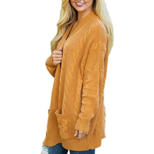 Damen Strick Cardigan Sweater Langarm Pullover Strickjacke Winter Knitted Mantel