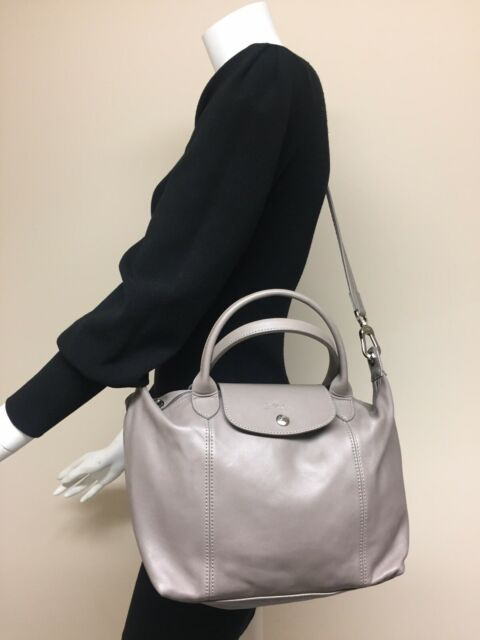 LONGCHAMP Le Pliage Cuir Med Soft Gray Leather Crossbody Silver Hardwares