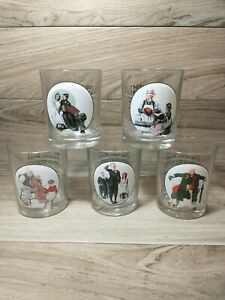 Vintage Set of 5 Norman Rockwell Saturday Evening Post Glasses