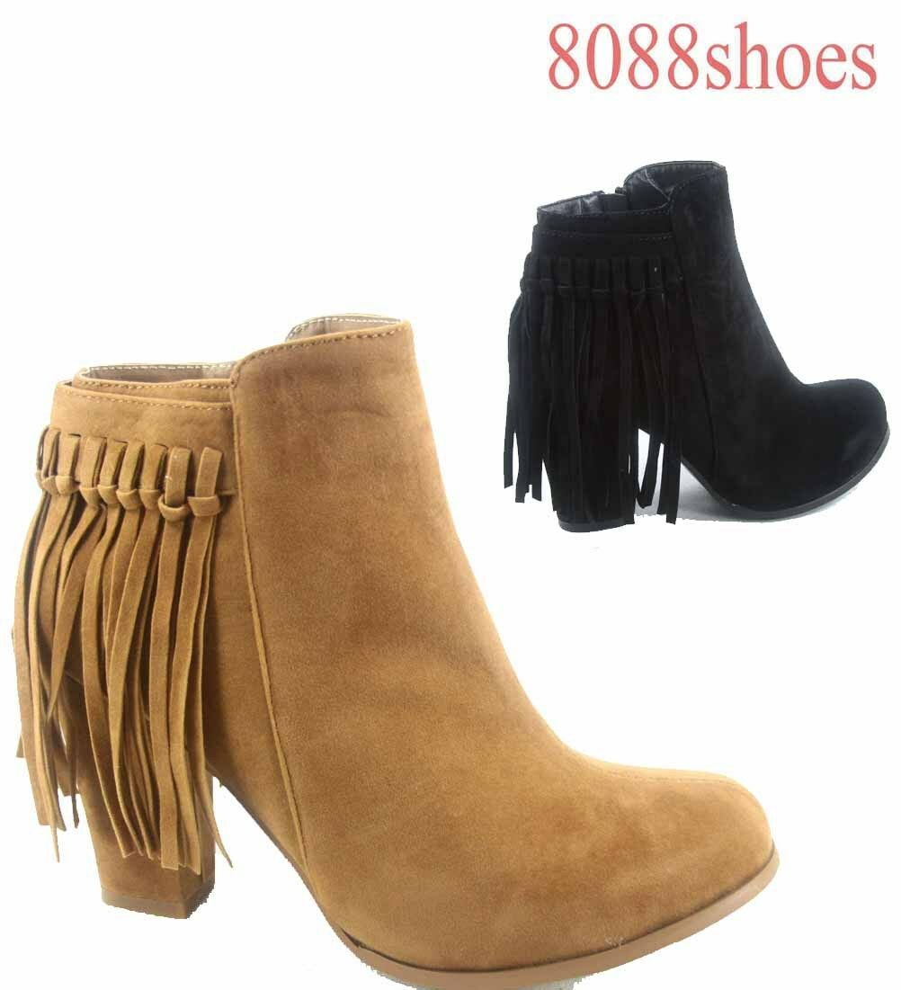 Women's Fashion Chunky Heel Strappy Fringe Ankle Bootie Shoes Size 5 - 11 NEW
