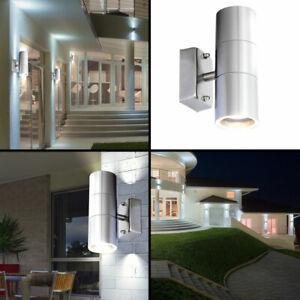 LED Wand Leuchte Haus Tür Außen Beleuchtung Edelstahl Up Down Glas Big Light