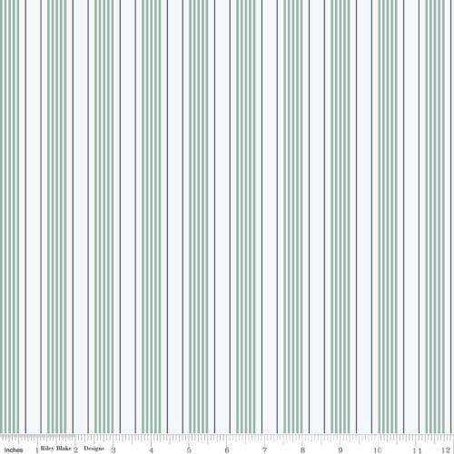 By the Sea Aqua /& White Stripe Riley Blake Fabric FQ or More 100/% Cotton Craft
