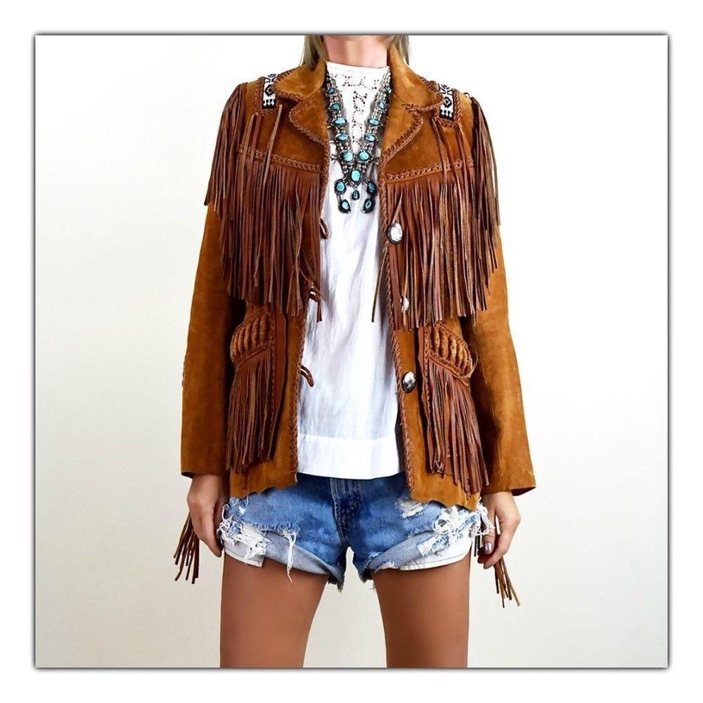 Damen Braun Wildleder Western Wear Jacke Fransen & Perlen Handgefertigte Jacken