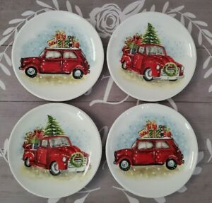 NEW (4) Maxcera Christmas Tree Red Truck with Presents Dessert Plates Home Decor