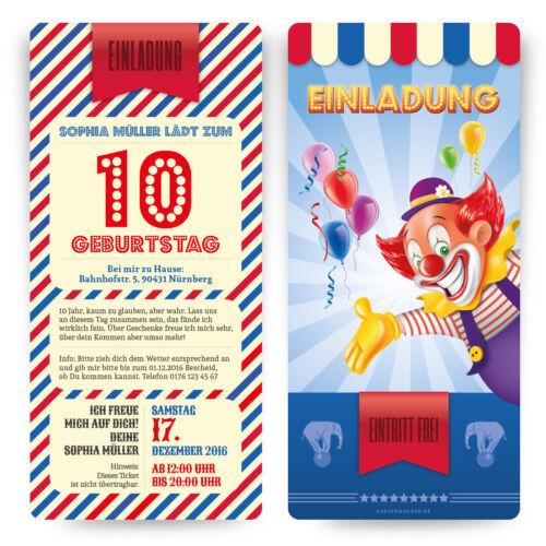 Cartes Invitation pour enfants anniversaire au cirque clown billet motif invitation