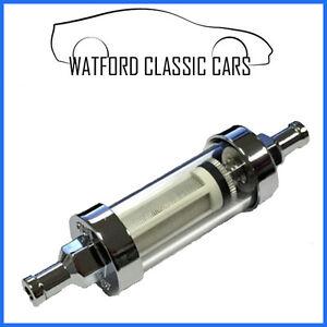 Washable inline chrome/gl fuel filter 5/16 Kit cars ,Motorbike ...
