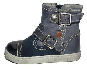 41e0693b866d Bo-bell Kids Vowel Blue Leather   Suede Zip Boots UK 7.5 EU 25 US 8 ...