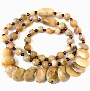 Vintage Natural Polished Cushion Agate & Garnet Bead 22 Inch Necklace GIFT BOXED