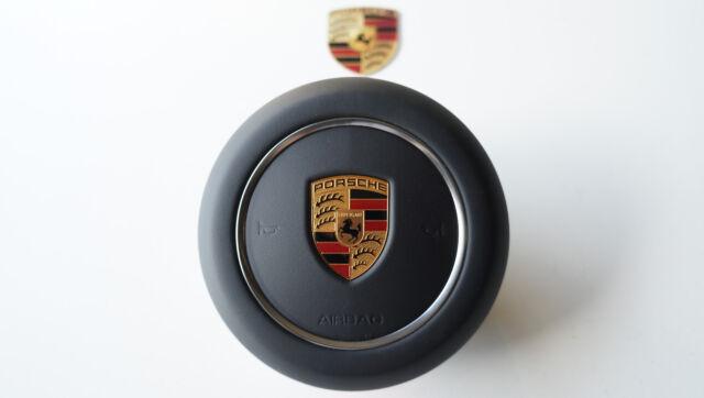 Porsche 9y0 Cayenne E3 Dashboard Airbag Manubrio Coperchio pelle Nera
