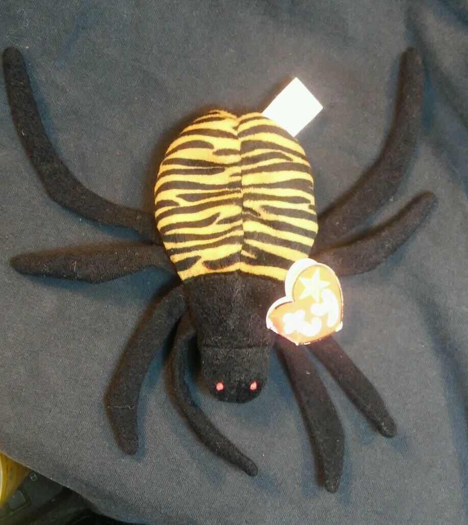 Rare Retired ty Beanie Babies Spinner Spider PVC  with  errors