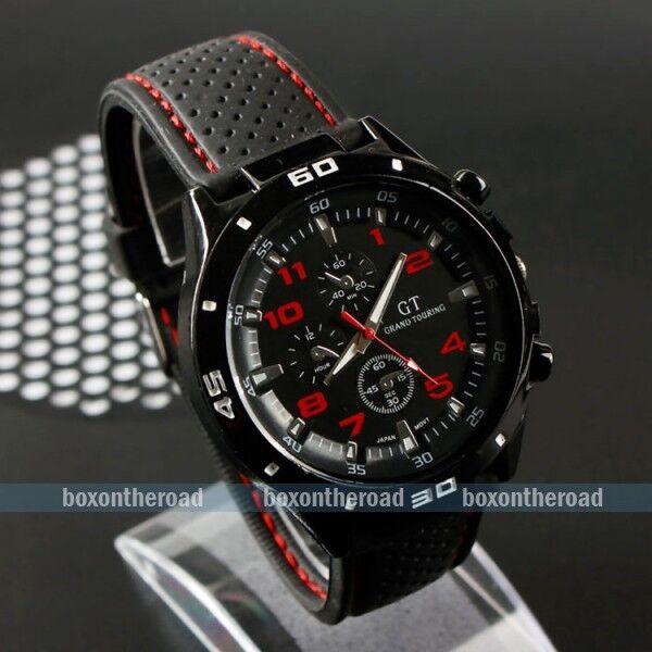Fashion Black Stainless Steel Luxury Sport Analog Quartz UNISEX Mens Wrist Watch