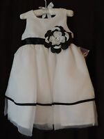 Blueberi Blvd Toddler Infant Baby Girl White Black White Flower Special Dress