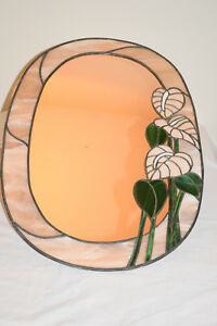 Decorative-Lead-Light-Wall-Mirror-Salmon-Pink-Floral-Design-Oval-Shape
