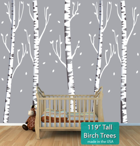 5x Birch Forest Tree Wall Decal, Birch Tree Wall Mural, Forest Tree Wall Sticker