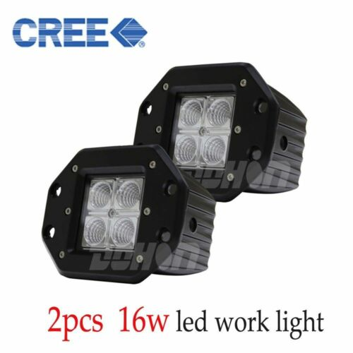 2X CREE 16W Flood LED Work Light Flush Mount SUV Offroad ATV 4 X 4 Boat 12V 24V