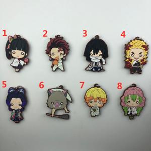 Anime Demon Slayer Kimetsu no Yaiba rubber Keychain Key Ring Race Straps