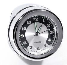 """Lenkeruhr 1-1/4"""" 32mm Metall Chrom Big Motorrad Uhr großes Ziffernblatt Custom"""