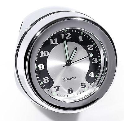 """Lenkeruhr 1-1/4"""" 32mm Metall Chrom Big Motorrad Uhr großes Ziffernblatt Harley"""