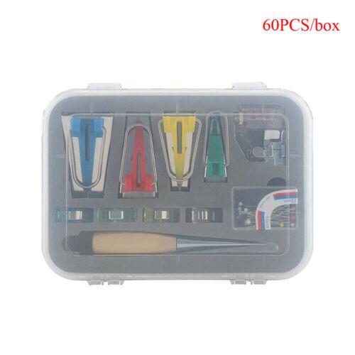 60Pcs Fabric Bias Binding Tape Maker Kit Binder Tool Stitch Sewing Accessories ~