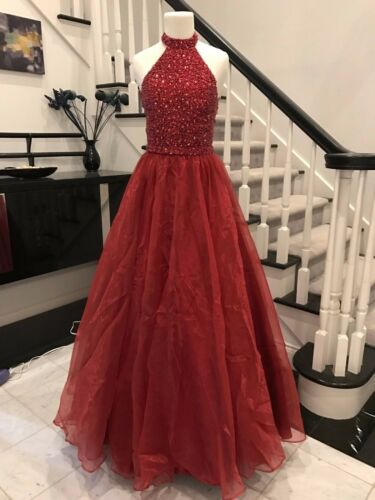 Luxury Dense Beading Wine Long Prom Pageant Elegant New In Stock Size 0-12