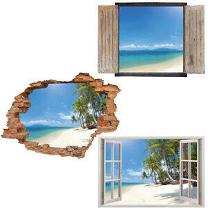 Window-Wall-Sticker-Decal-Vinyl-3D-Tropical-Beach-View-Palm-home-art-room-decor