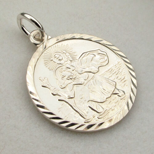 Sterling Silver 19mm St Christopher Pendant Necklace /& Chain With Any Engraving