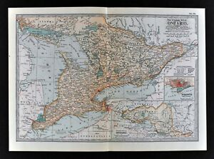 Details About 1902 Century Atlas Map Ontario Toronto Niagara Falls Windsor London Lake Erie