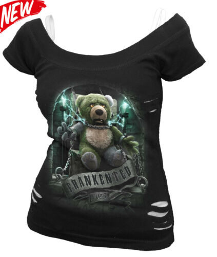 SPIRAL DIRECT FRANKENTED 2in1 Ripped//Goth//Cute//Teddy bear//Xmas Gift//Funny//Top