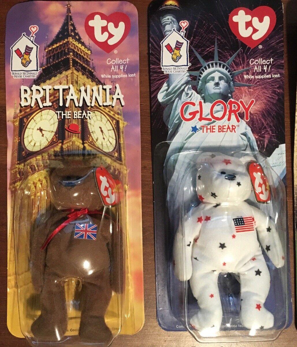4 NEW Ty Teenie Teenie Teenie Beanie Babies Britannia Glory Erin & Maple The Bear McDonalds 1 611fd2