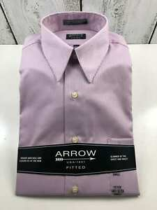 Men-039-s-Arrow-1851-Fitted-Small-14-1-2-32-33-Purple-Sleeve-Dress-Shirt-NWT-0