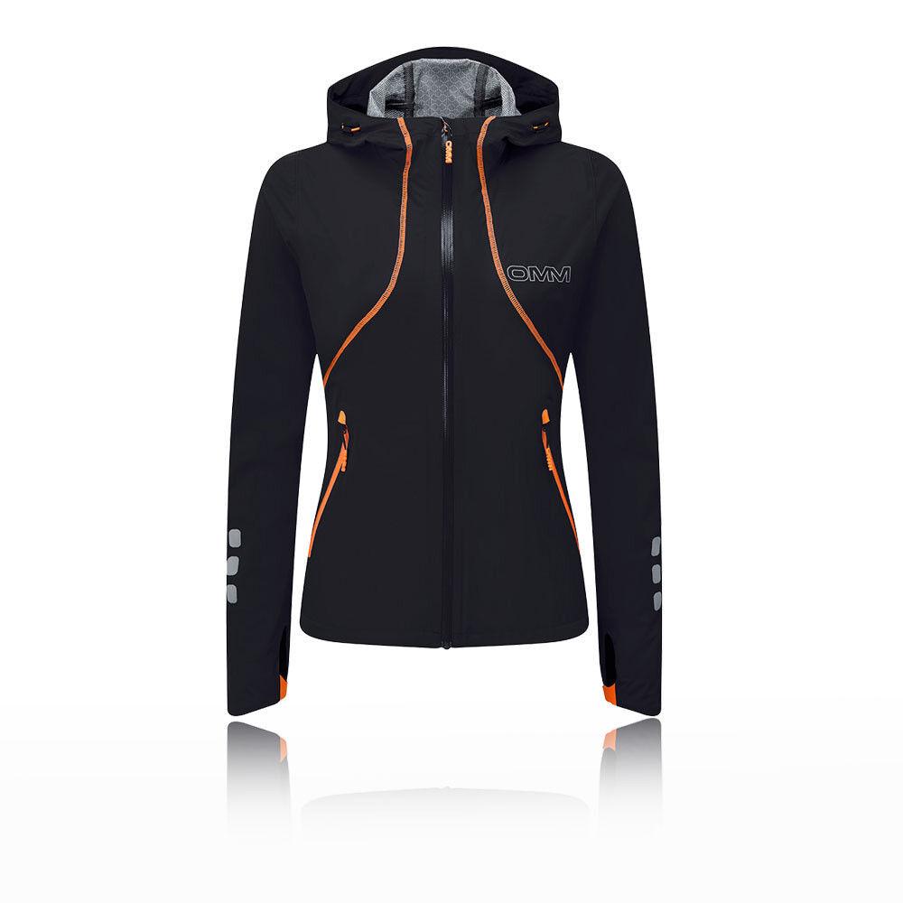 OMM Kamleika da donna giacca top nero sport correre all'aperto Cerniera Intera con Cappuccio