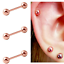 3 PC LOT 16G 3mm TINY ROSE GOLD TITANIUM BARBELL EAR TRAGUS CARTILAGE RING STUDS