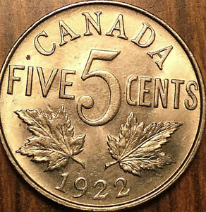 1922-CANADA-5-CENTS-COIN-Uncirculated
