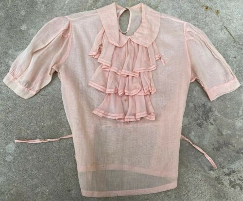 Antique 1930s Sheer Pink Organza Blouse Pussy Bow