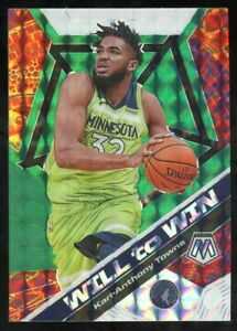 2019-20-Panini-Mosaic-Karl-Anthony-Towns-Will-to-Win-Green-Prizm-Timberwolves