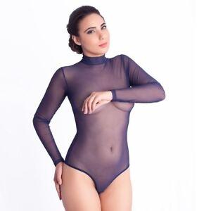 026a43325aec Image is loading Women-Mesh-Bodysuit-Navy-Blue-Leotard-Turtleneck-Tull-