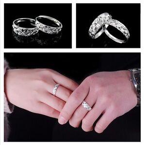 Para Hombre/Mujer: Chapado en Oro Blanco Diamante Corte Tamaño Ajustable Anillo de compromiso  </span>