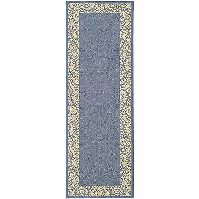 "Contemporary Safavieh Blue/Natural Indoor/Outdoor Rug (2'2"" x 12')"